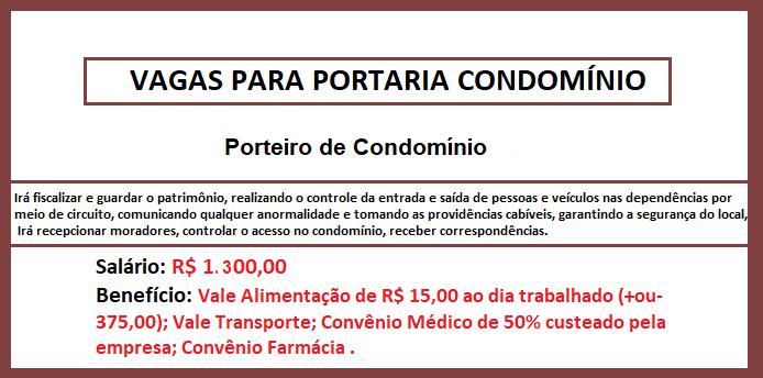 Porteiro de Condomínio: Ensino Médio – Salário de R$ 1300,00!